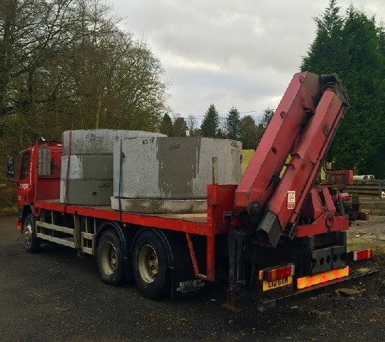 Daf Truck loaded with 2100 dia Concrete Manholes